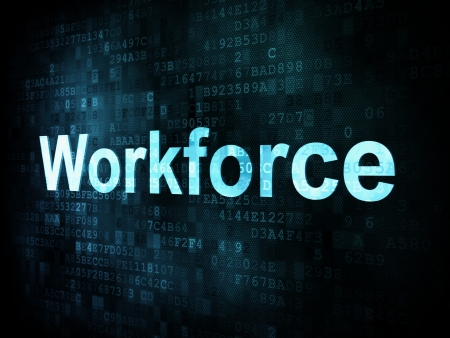 Job, work concept: pixelated words Workforce on digital screen, 3d render Stock Photo - 14328872