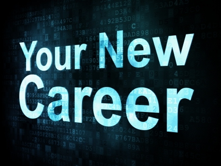 Job, work concept: pixelated words Your New Career on digital screen, 3d render Stock Photo - 14328854