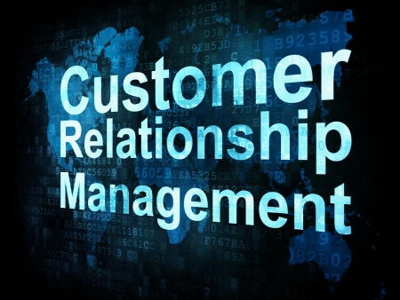 Concepto de marketing: las palabras del cliente CRM Gesti�n de Relaci�n pixelado en la pantalla digital, 3d