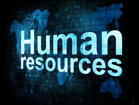�resource: Trabajo, trabajo concepto: los recursos humanos en las palabras pixeladas la pantalla digital, 3d hacer