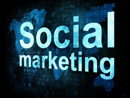 Marketing concept: pixelated words Social marketing sm on digital screen, 3d render photo
