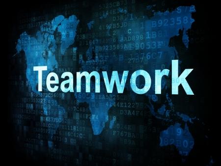Job, work concept: pixelated words Teamwork on digital screen, 3d render Stock Photo - 14328864