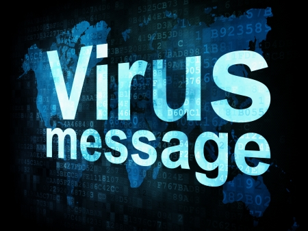 Marketing concept: pixelated words Virus message on digital screen, 3d render photo