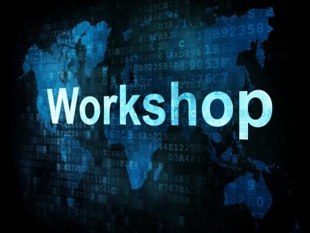 Job, work concept: pixelated words Workshop on digital screen, 3d render Stock Photo - 14328865