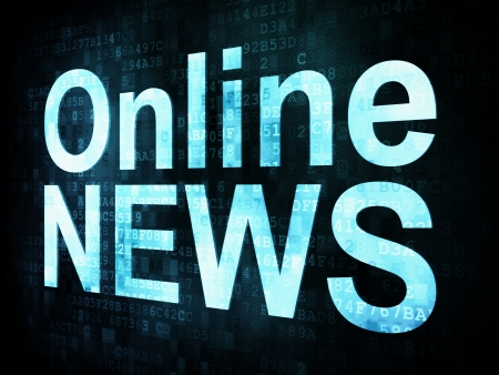 News and press concept: pixelated words Online NEWS on digital screen, 3d render