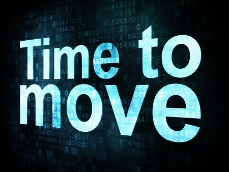 chronology: Concepto de Tiempo: El tiempo para mover las palabras pixelado en la pantalla digital, 3d