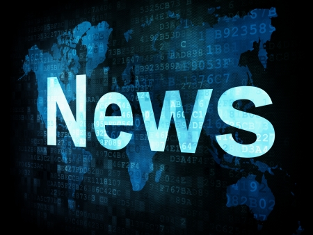 bad news: News and press concept: pixelated words News on digital screen, 3d render