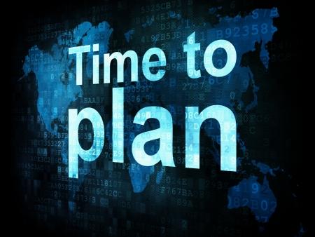 cronologia: Concepto de Tiempo: El tiempo para planificar las palabras pixelado en la pantalla digital, 3d
