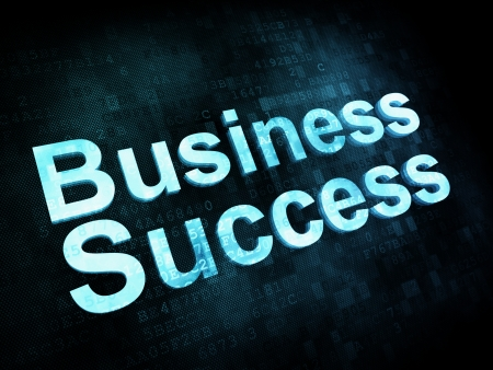 Business concept: pixelated words Business Success on digital screen, 3d render photo