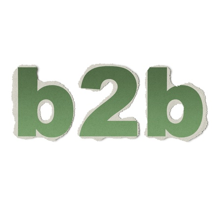 Business concept: vintage words b2b on torn paper, 3d render photo