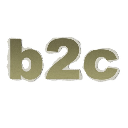 Business concept: vintage words b2c on torn paper, 3d render photo