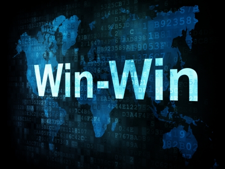 Business concept: pixelated words Win Win on digital screen, 3d render photo
