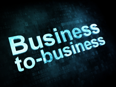 Business concept: pixelated words Business to business on digital screen, 3d render photo