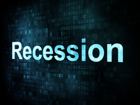 Business concept: pixelated words Recession on digital screen, 3d render photo