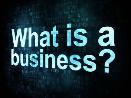 Business concept: pixelated words What is a business on digital screen, 3d render photo