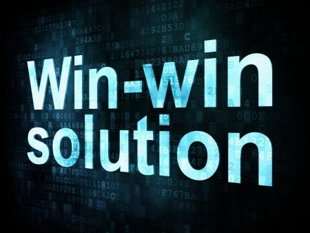 fondos: Business concept: pixelated words Winwin solution on digital screen, 3d render Stock Photo