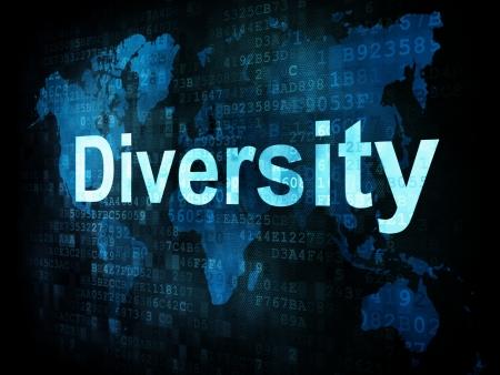 Business concept: pixelated words Diversity on digital screen, 3d render photo