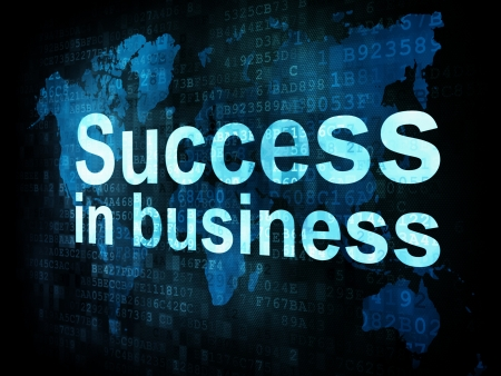Business concept  pixelated words Success in business on digital screen, 3d render photo
