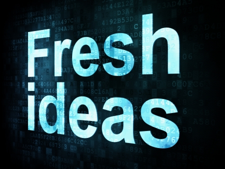Brainstorm, thinking, idea concept  pixelated words Fresh ideas on digital screen, 3d render photo