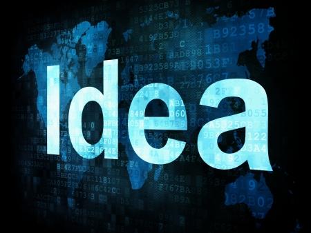 Brainstorm, thinking, idea concept  pixelated words Idea on digital screen, 3d render photo