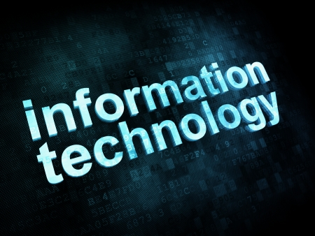 Information technology IT concept  pixelated words information technology on digital screen, 3d render photo