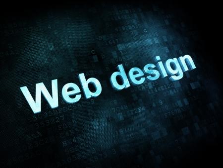 Information technology IT concept  pixelated words Web design on digital screen, 3d render photo