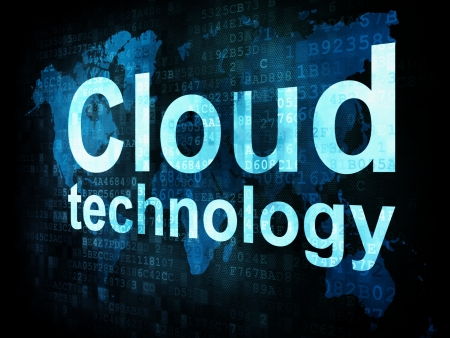 Information technology IT concept  pixelated words Cloud technology on digital screen, 3d render photo