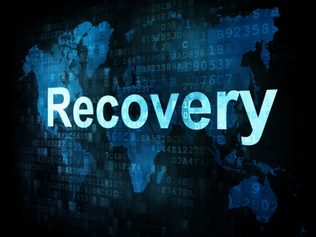 Information technology IT concept  pixelated words Recovery on digital screen, 3d render photo