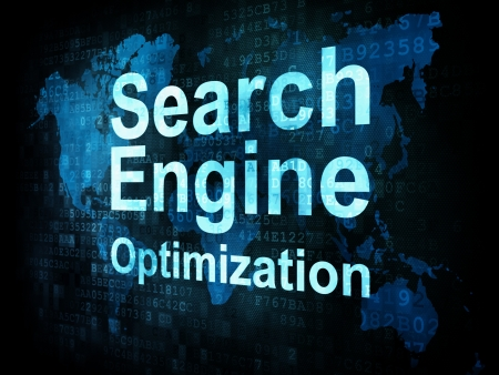 optimize: Information technology IT concept  pixelated words Search Engine Optimization on digital screen, 3d render Stock Photo