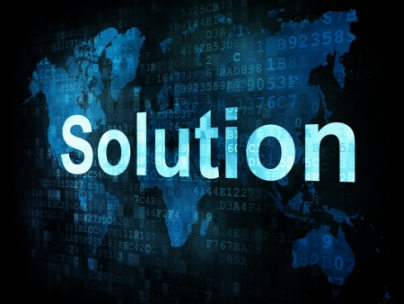 Information technology IT concept  pixelated words Solution on digital screen, 3d render photo
