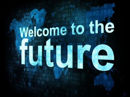 công nghệ: Công nghệ thông tin khái niệm CNTT từ pixelated Chào mừng bạn đến tương lai trên màn hình kỹ thuật số, 3d làm
