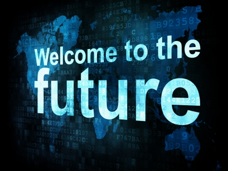 it technology: Information technology IT concept  pixelated words Welcome to the future on digital screen, 3d render