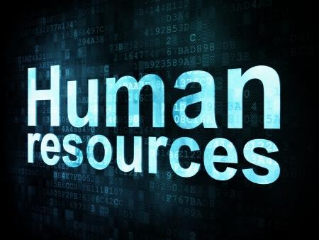 Trabajo, el concepto de trabajo pixelada recursos humanos palabras en la pantalla digital, 3d