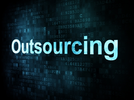 Job, work concept  pixelated words Outsourcing on digital screen, 3d render photo