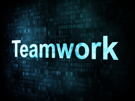 Job, work concept  pixelated words Teamwork on digital screen, 3d render Stock Photo - 14613642