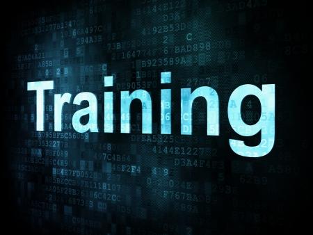 training: Emploi, le concept de travail pix�lis�e mots de formation sur l'�cran num�rique, 3d render