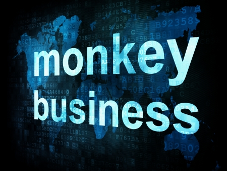 Job, work concept  pixelated words monkey business on digital screen, 3d render photo