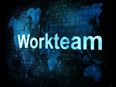 workteam: Job, work concept  pixelated words Workteam on digital screen, 3d render