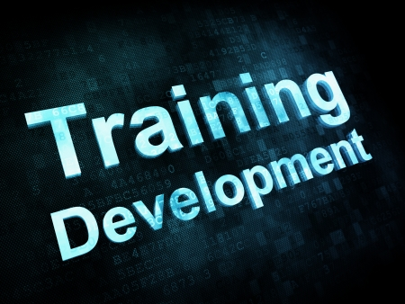 Concepto de educaci�n y aprender: Desarrollo pixelada Formaci�n palabras en la pantalla digital, 3d