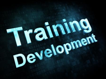 curso de capacitacion: Concepto de educaci�n y aprender: Desarrollo pixelada Formaci�n palabras en la pantalla digital, 3d