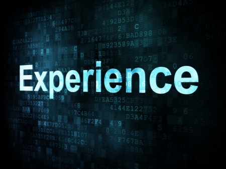 experience: Life style concept: pixelated words Experience on digital screen, 3d render