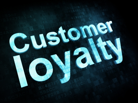 Marketing concept: pixelated words Customer loyalty on digital screen, 3d render photo