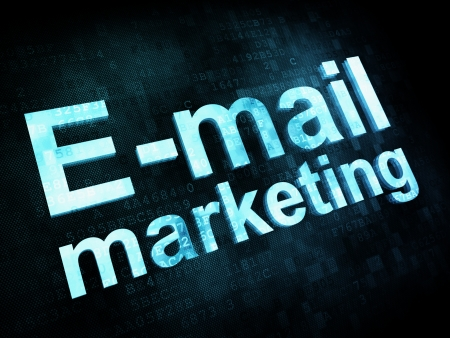 Marketing concept: pixelated words Email marketing on digital screen, 3d render Stock Photo - 14653251