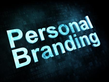 Concepto de marketing: las palabras pixelados marca personal en la pantalla digital, 3d render