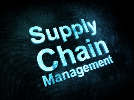 Marketing concept: pixelated words Supply Chain Management on digital screen, 3d render photo