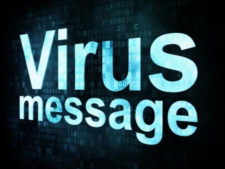 Marketing concept: pixelated words Virus message on digital screen, 3d render photo