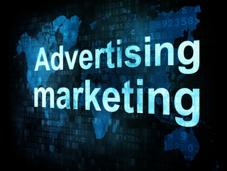 Marketing concept: pixelated words Advertising marketing on digital screen, 3d render photo