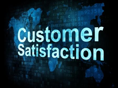 satisfaction client: Concept marketing: pix�lis�e satisfaction de la client�le mots sur l'�cran num�rique, 3d render