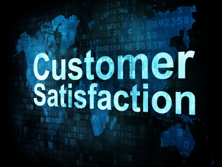 Marketing concept: pixelated words Customer Satisfaction on digital screen, 3d render photo