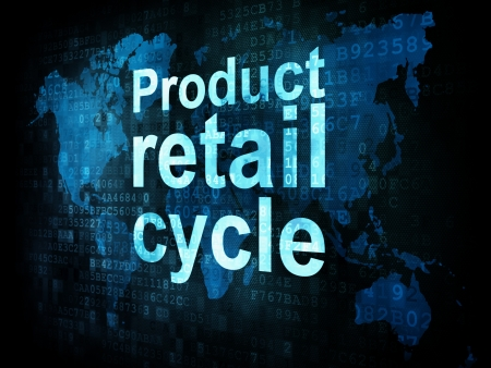 Marketing concept: pixelated words Product retail cycle on digital screen, 3d render photo